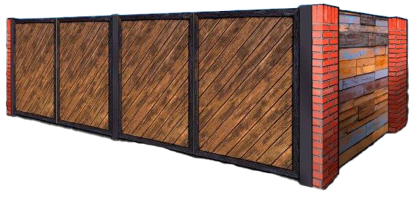 wooden dumpster enclosure with brick columns