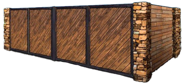 wooden dumpster enclosure with stone columns