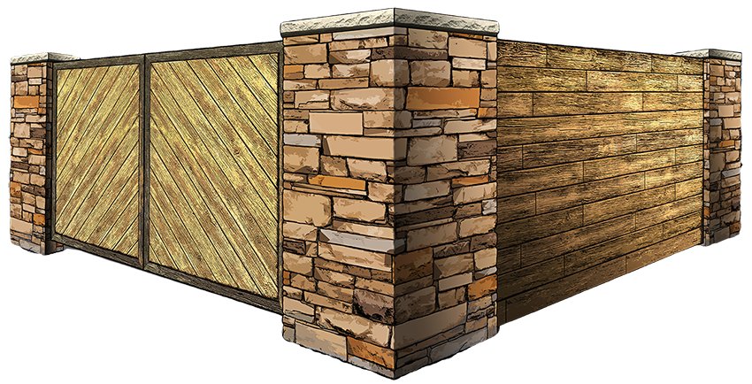 wooden enclosure with stone columns