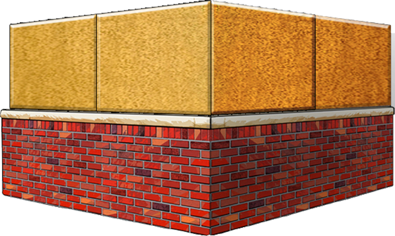 dumpster enclosure with brick and stucco