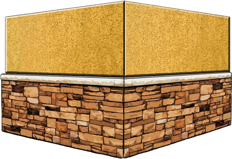 stucco and stone wainscot dumpster enclosure