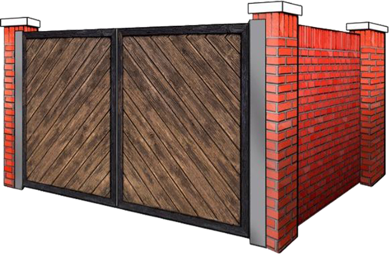 brick dumpster enclosure with wooden gates