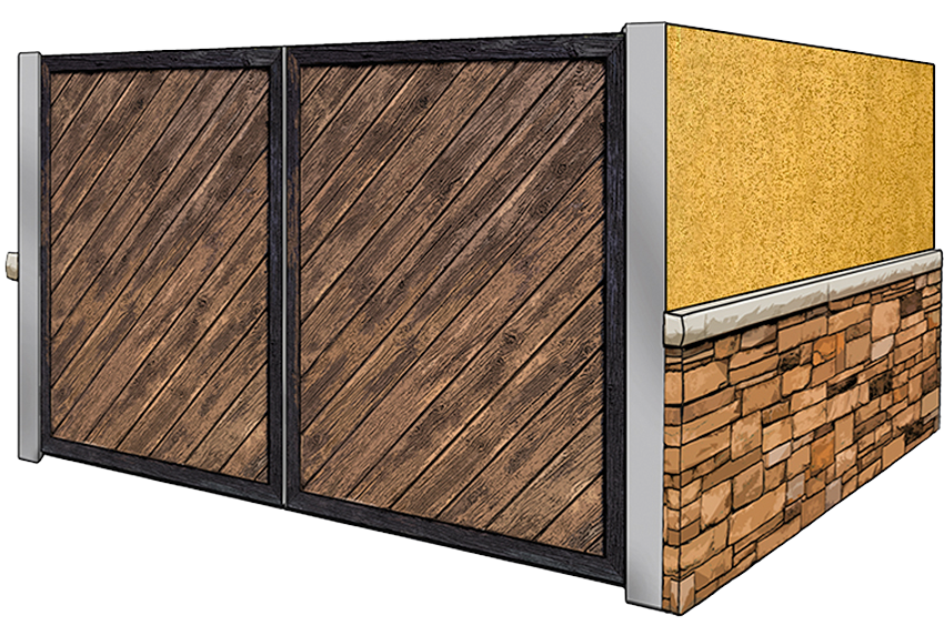 stucco and stone dumpster enclosure