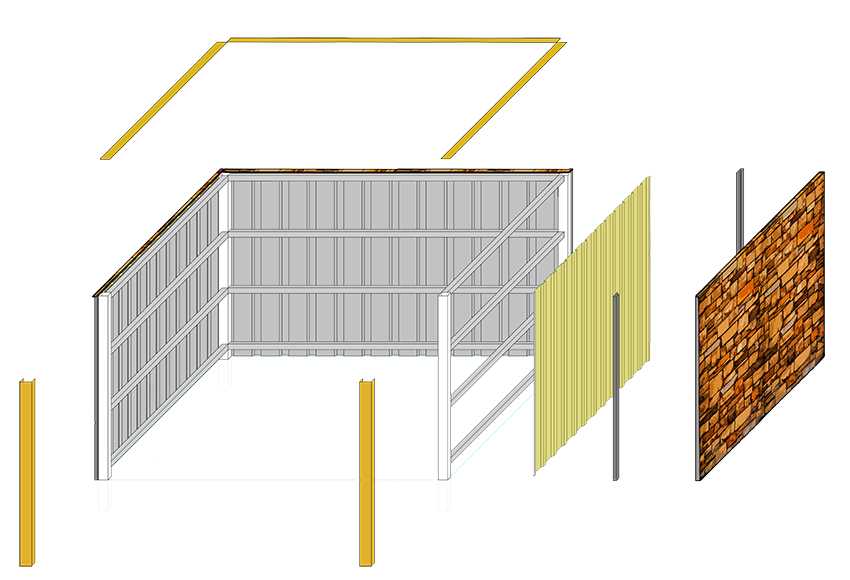 dumpster enclosure components drawing