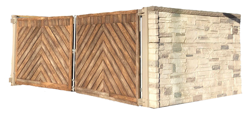 stone dumpster enclosure with wooden gates