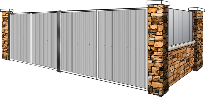 stone and metal dumpster enclosure with metal gates