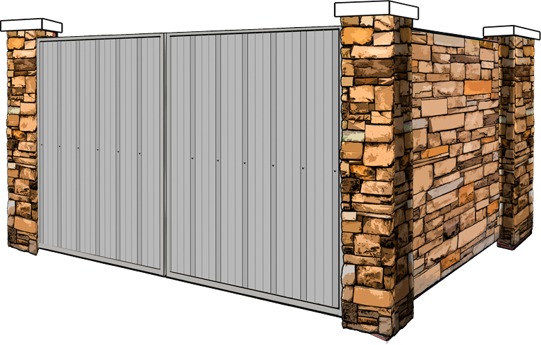 stone dumpster enclosure with metal gates